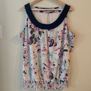 Maurices Floral Tank with Beaded Neck